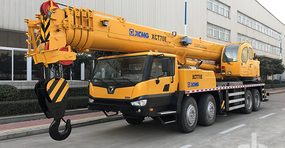 this 2013 XCMG XCT70E hydraulic truck crane (1 of 2) will be sold in Dubai (Feb. 27-28)