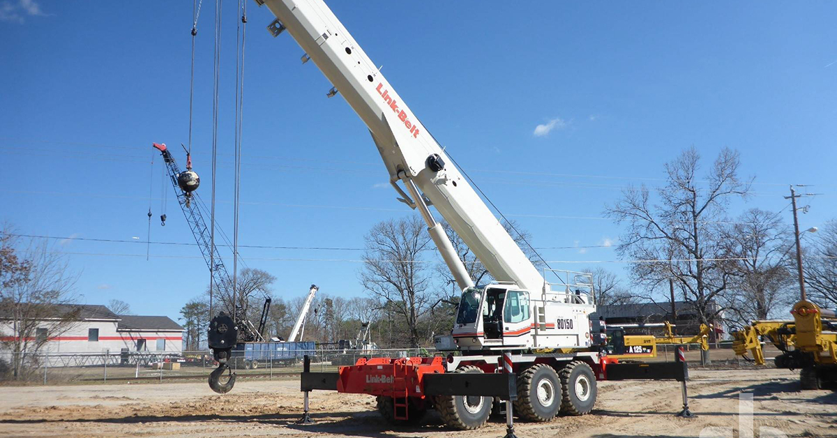 this 2015 Link-Belt RTC80150 series II 150-ton 6x6x6 rough terrain crane is selling in Orlando on Feb. 22