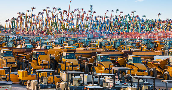 Ritchie Bros. Orlando yard full of equipment