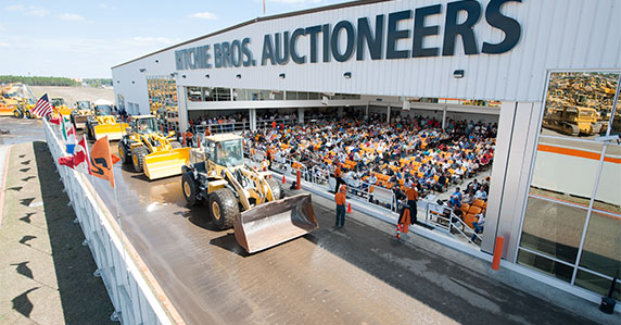 Construction equipment on the Ritchie Bros. ramp at Orlando